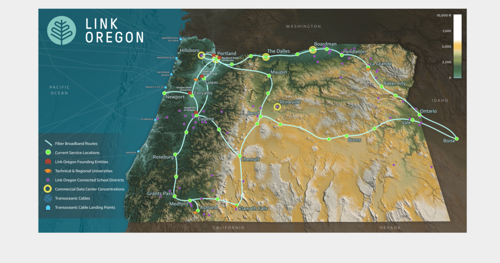 "Shows an artistic rendering of the ""fiber complete"" LINK OREGON Network route map."